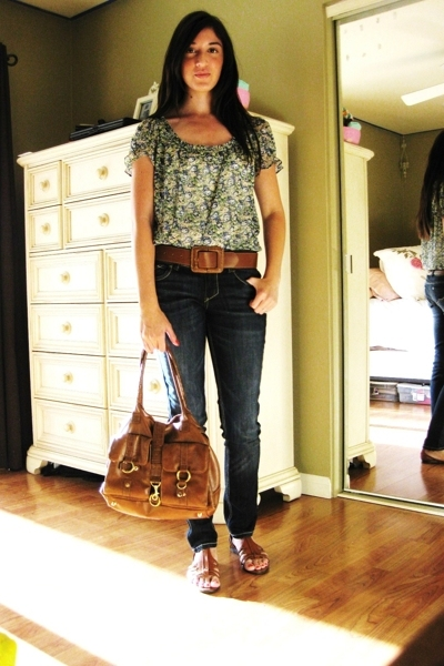 blue decree blouse - Tahari shoes - blue Lei for Wal-Mart jeans - H&M purse