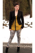 mustard bcbg max azria shirt - Elizabeth and James boots - python INC leggings