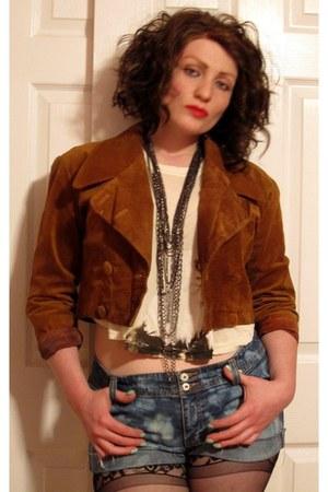 TJ Maxx boots - vintage jacket - fredericks of hollywood tights - DIY shorts - v