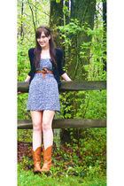 black Merona from Target cardigan - green thrifted dress - brown thrifted belt -