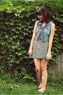 Dark-green-dress-teal-flats-light-blue-denim-vest-gold-necklace-gold-dee