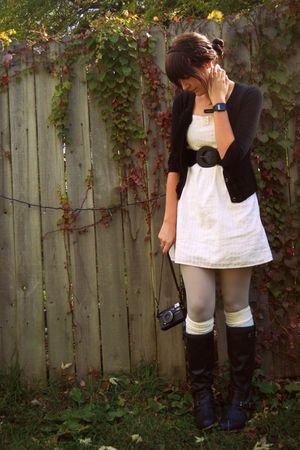 black Target cardigan - black Target boots - white thrifted dress
