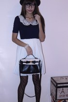 black bowler hat H&M hat - navy monteau dress - black bowed satchel Spring bag