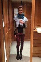 teal The Local Market scarf - black barrats boots - crimson River Island jeans