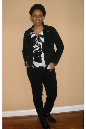 Forever 21 jacket - Target jeans - thrifted blouse - claires earrings accessorie