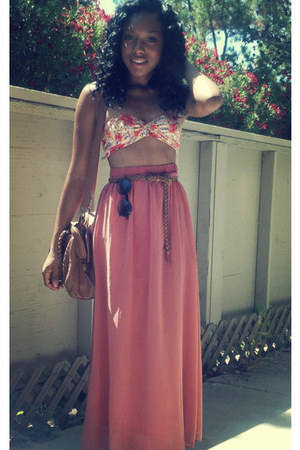 maxi skirt skirt - bag - bandeau top - belt - round glasses glasses