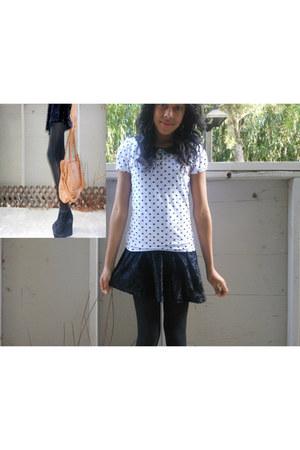 black velvet Forever 21 dress - white Forever21 shirt - camel Forever 21 purse