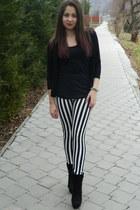 black no name boots - black Zara sweatshirt - black Atmosphere top