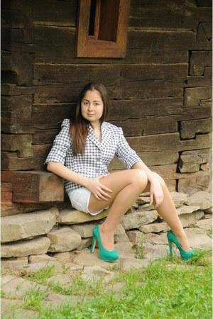 Atmosphere heels - silver Mango jacket - white H&M shorts - white Zara skirt