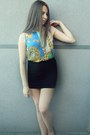 Black-amisu-skirt-aquamarine-atmosphere-top