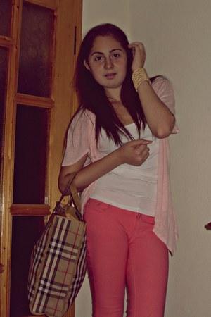 salmon H&M pants - light pink Atmosphere blazer - white no name shirt