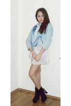 sky blue Bershka jacket - black Zara boots - white Atmoshpere shirt