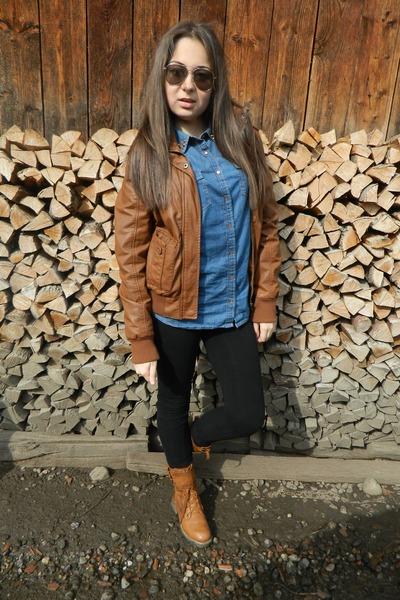 blue pull&bear shirt - tawny no name boots - black Guess jeans