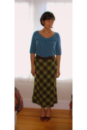 light blue sweater - chartreuse wool plaid Racing Green skirt - burnt orange sue