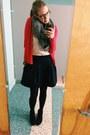 Sam-edelman-boots-red-cardigan-ann-taylor-loft-sweater-madewell-skirt