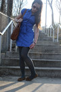 Blue-shirt-dress-thrifted-dress-light-blue-cropped-jean-calvin-klein-jacket