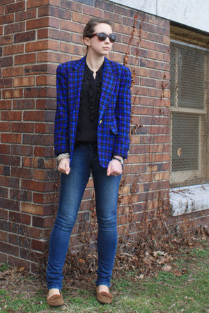 blue plaid thrifted blazer - dark brown mens Target sunglasses