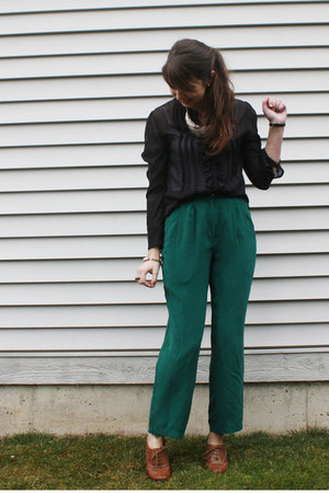 green thrifted pants - black sheer blouse - bronze oxford thrifted heels