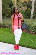 wedges - jeans - purse - blouse