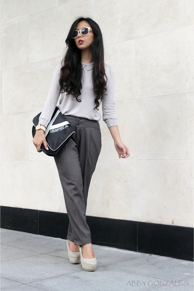 heather gray knit H&M sweater - heather gray HK pants