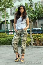 forest green camo HK Brand pants - silver studded Folded and Hung top