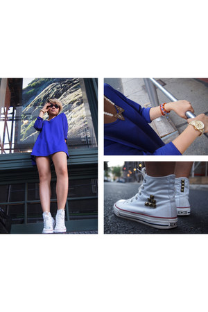 deep purple tent Susan Graver dress - white high-top Converse sneakers