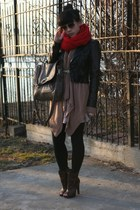 dark brown Jessica Simpson boots - black H&M jacket - red Madewell 1937 scarf -
