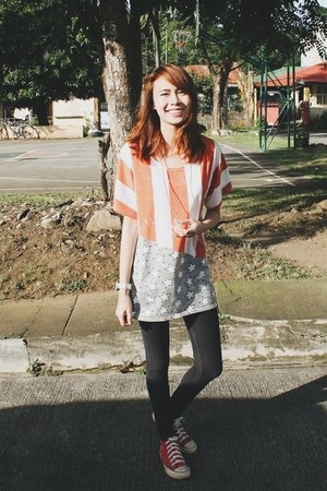 orange thrifted blouse - red Converse shoes - black Jag Jeans jeans