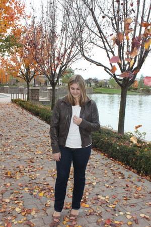 blue American Eagle jeans - dark brown Target jacket - cream Forever 21 shirt
