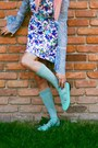 Aquamarine-knee-highs-thrifted-socks-blue-floral-vintage-dress