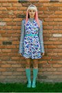 Blue-floral-vintage-dress-aquamarine-knee-highs-thrifted-socks