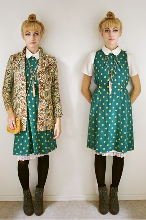 teal polka dot dress Girls from Savoy dress