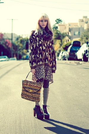 brown leopard print Urban Outfitters sweater