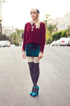 turquoise blue suede Nine West heels - ruby red knitted Urban Outfitters sweater
