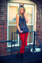 peplum H&M top - cowboy Zara boots - red denim Rich and Skinny jeans