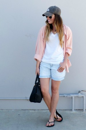 Adidas hat - bowler Zara bag - denim Gap shorts - v-neck Target t-shirt