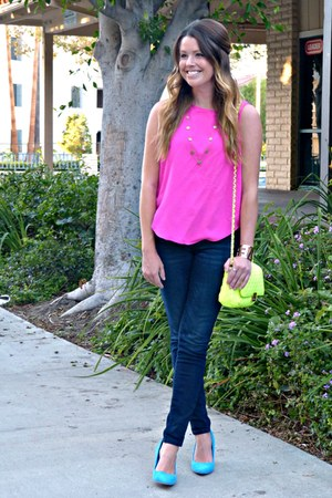 neon Forever 21 bag - skinny Old Navy jeans - neon Forever 21 top