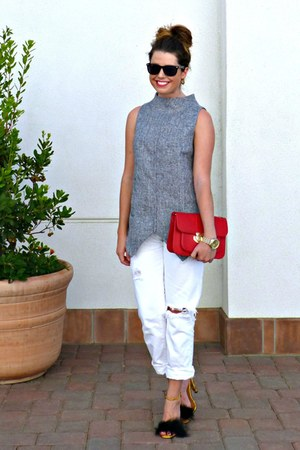 boyfriend Gap jeans - satchel Downeast Basics bag - snakeskin asos heels