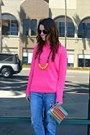 Boyfriend-jeans-jessica-simpson-jeans-neon-pink-forever-21-sweater