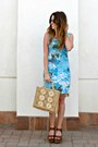 Printed-vintage-dress-straw-vintage-bag-aviator-forever-21-sunglasses
