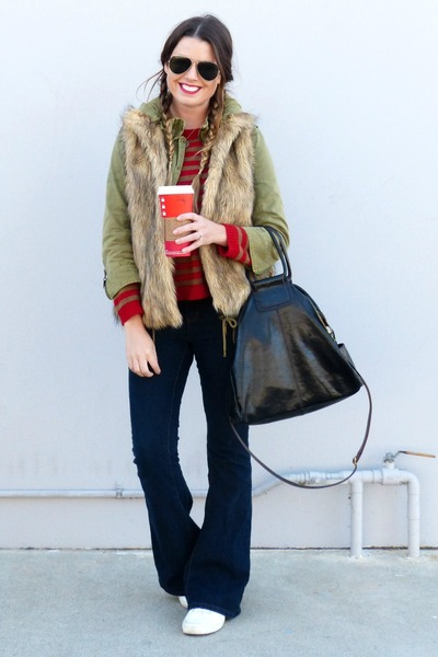 utility Zara jacket - flared Forever 21 jeans - striped Zara sweater