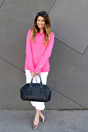 neon pink Forever 21 sweater - white Gap jeans