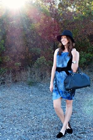 suede Rebecca Minkoff dress - fedora Target hat - bowler Zara bag