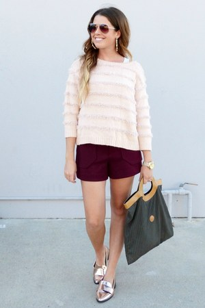 burgundy Zara shorts - pink asos sweater - metallic Forever 21 loafers