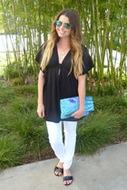 cbc428fbbb2 black Old Navy top - sandals asos shoes - printed clutch Urban Outfitters  bag