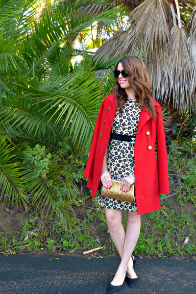 leopard print banana republic dress - red Tulle coat - vintage bag