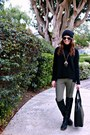 Beanie-h-m-hat-turtleneck-loft-sweater-olive-and-black-h-m-leggings