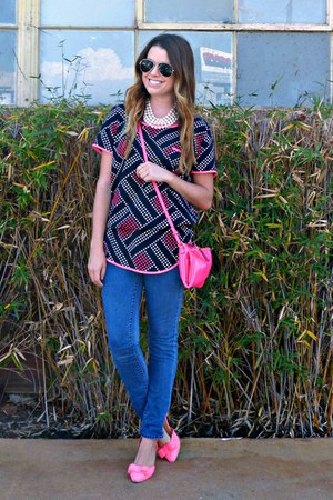 skinny Paige Denim jeans - hot pink Old Navy bag - bow Shoedazzle flats - flats