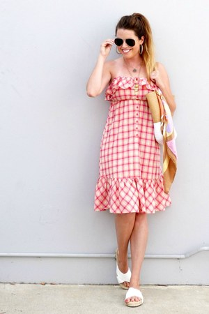 plaid Urban Outfitters dress - slides Forever 21 sandals