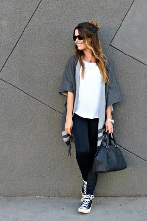poncho TOMS cape - faux leather Macys leggings - bowler Zara bag